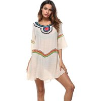 Fashion Women Crochet Hollow Patchwork Loose 3/4 Sleeve Holiday Beach Dress