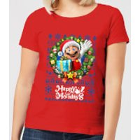 Nintendo Super Mario Happy Holidays Mario Women's Christmas T-Shirt - Red - L - Red