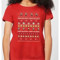 Nintendo Super Mario Happy Holidays The Good Guys Women's Christmas T-Shirt - Red - XS - Red