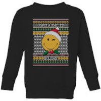 Smiley World Have A Smiley Holiday Kids Christmas Sweatshirt - Black - 3-4 Years - Black