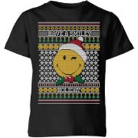 Smiley World Have A Smiley Holiday Kids Christmas T-Shirt - Black - 5-6 Years - Black