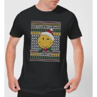 Smiley World Have A Smiley Holiday Men's Christmas T-Shirt - Black - 5XL - Black