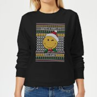 Smiley World Have A Smiley Holiday Women's Christmas Sweatshirt - Black - L - Black