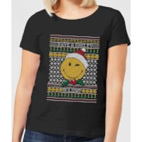 Smiley World Have A Smiley Holiday Women's Christmas T-Shirt - Black - 3XL - Black