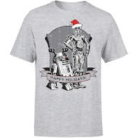 Star Wars Christmas Happy Holidays Droids Grey T-Shirt - S - Grey