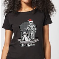Star Wars Happy Holidays Droids Women's Christmas T-Shirt - Black - S - Black