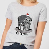 Star Wars Happy Holidays Droids Women's Christmas T-Shirt - Grey - 5XL - Grey